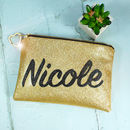 Personalised, Hand Crafted Glitter Clutch Bag