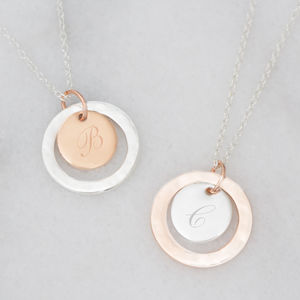 Personalised Halo Initial Disc Necklace - necklaces & pendants
