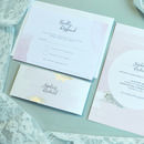 Blush Watercolour Silver Wedding Invitation