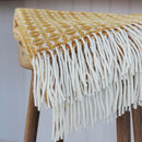 Yellow And Cream Woven Wool Throw