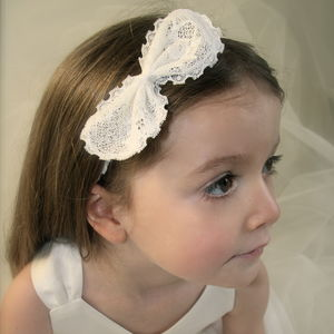 Emma Lace Bow Flower Girl Hairband - christeningwear