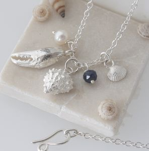 Silver Beachcomber Shell Necklace, Birthstone Necklace - necklaces & pendants
