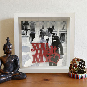 Personalised Photo And Stencil Message 3D Box Frame - picture frames