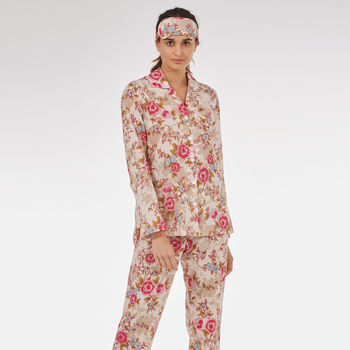 Cotton Pyjamas In 'Pink Beautiful' Rose Print