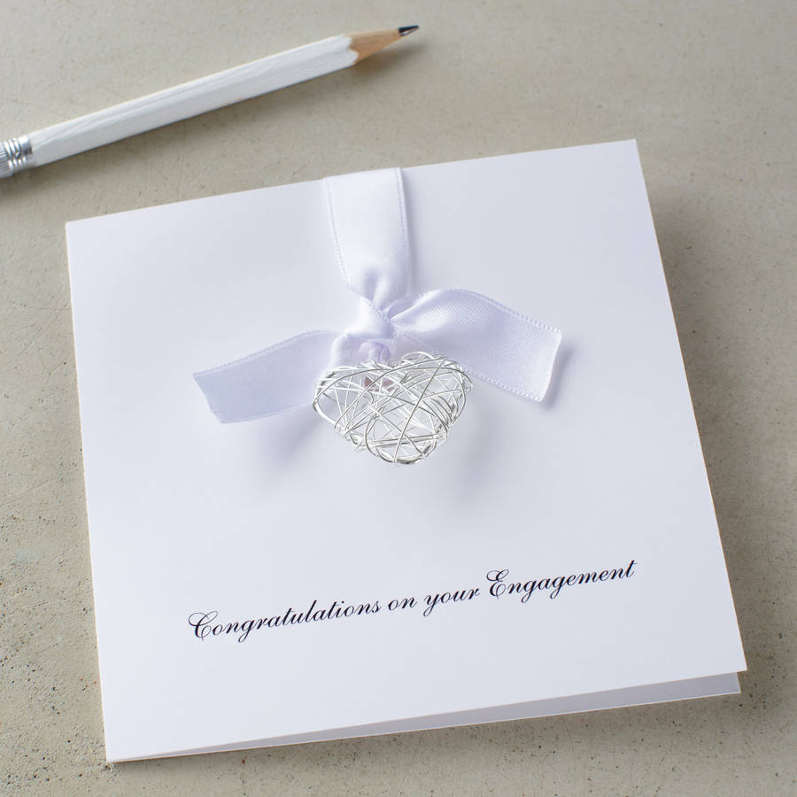 Personalised Engagement Wire Heart Card