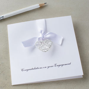 Personalised Engagement Wire Heart Card - wedding cards & wrap