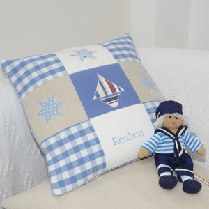 Boat And Stars Cushion - bedroom