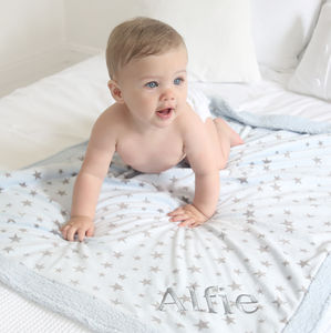 Personalised Star Fleece Blanket Blue - blankets, comforters & throws