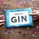 Personalised Gin Lovers Sapphire Glitter Clutch Bag