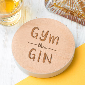 'Gym Then Gin' Personalised Drinks Coaster - winter sale