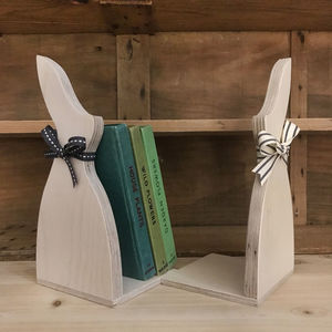 Pair Of Birch Ply Bunny Bookends