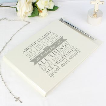 Personalised Christening Guest Book And Pen