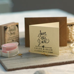 Arrow And Heart Save The Date Stamp - ribbon & wrap