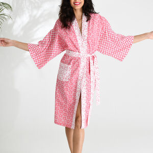 Cotton Wrap Kimono In Red Patchwork Floral