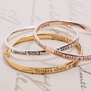 Sisters Silver Plated Message Bangles - gifts for sisters