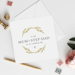 To My Mum And Step Dad Wedding Card | Gold Effect