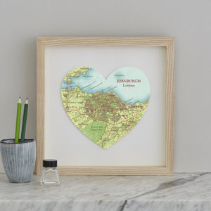 Personalised Location Edinburgh Map Heart Print
