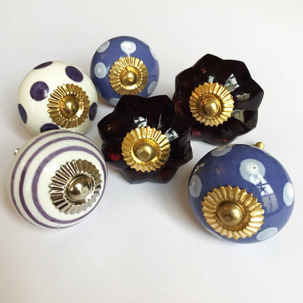 Set Of Assorted Purple Drawer Knobs