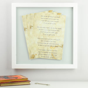 Personalised Framed Song Lyrics - winter sale