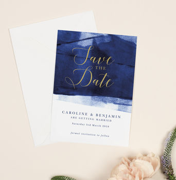 Grace Navy Blue And Gold Wedding Save The Date Cards
