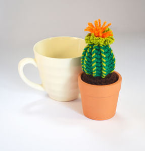 Crocheted Amigurumi Cactus Small Orange And Green - flowers, plants & vases