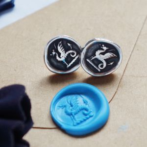 Silver Wyvern Wax Seal Impression Studs - new in jewellery