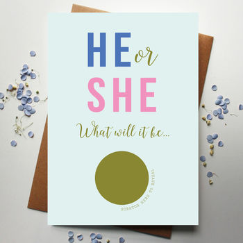 Scratch Off Baby He Or She Announcement Card