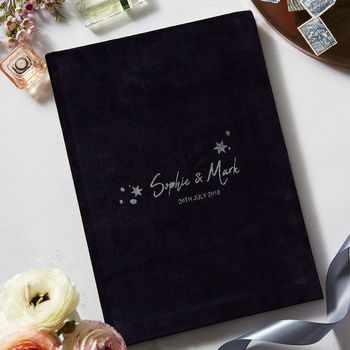 Luxury Velvet Personalised Star Wedding Guest Book