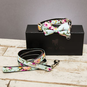 The Barnes Blue Floral Dog Collar Bow Tie And Lead Set - pet collars