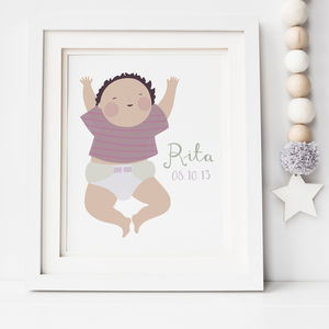 Personalised Illustrated Baby Portrait Print - canvas prints & art