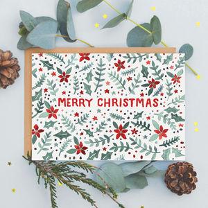 Poinsettia Pattern Christmas Card