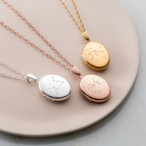 Personalised Zodiac Constellation Locket Necklace - mother's day gifts