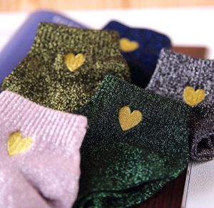 Glitter Socks With Heart Embroidery