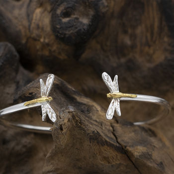 Drangonfly Bangle In Silver And Gold Vermeil