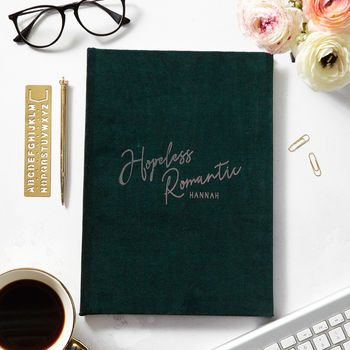 Hopeless Romantic Personalised Name Notebook