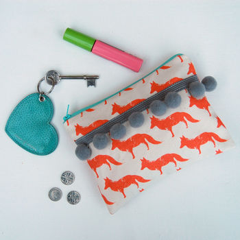 Fox Purse With Large Grey Pom Poms