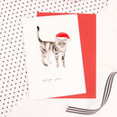 Santa Paws Cat Christmas Card