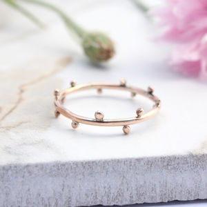 Dahlia, 9ct Rose Gold Dotty Boho Stacking Ring - rings