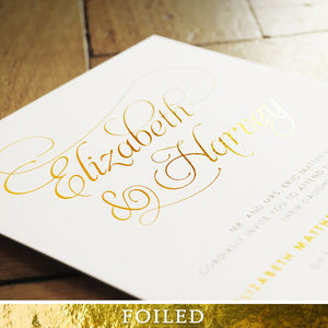 Baroque Foil Wedding Invitation - wedding stationery