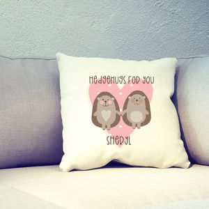 Hedgehogs In Love Personalised Cushion Cover
