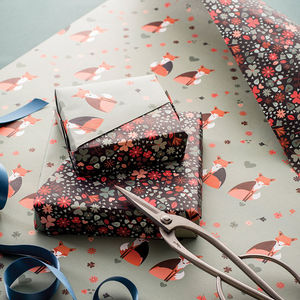 Double Sided Fox Floral Wrapping Paper Pack - ribbon & wrap