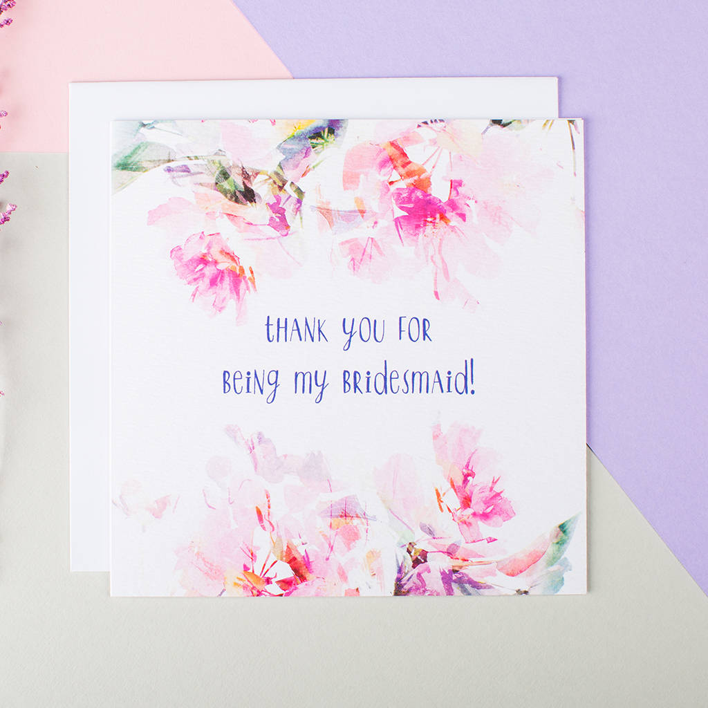 Thank You For Being My Bridesmaid Card By I Am Nat