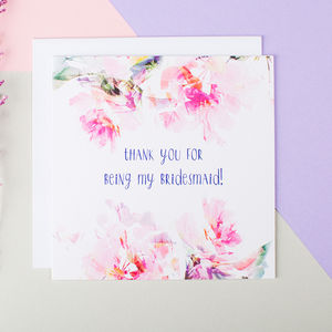 'Thank You For Being My Bridesmaid' Card - thank you cards