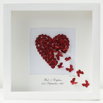 Personalised Ruby Wedding Anniversary Butterfly Heart