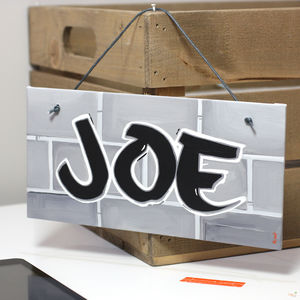 Personalised Graffiti Nickname Canvas Sign - children's pictures & paintings