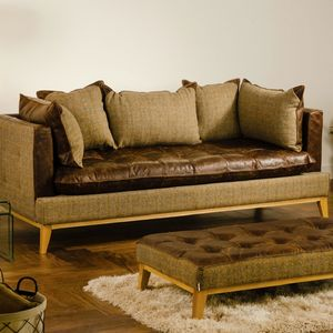Vintage Leather Cushioned Sofa Choice Of Sizes