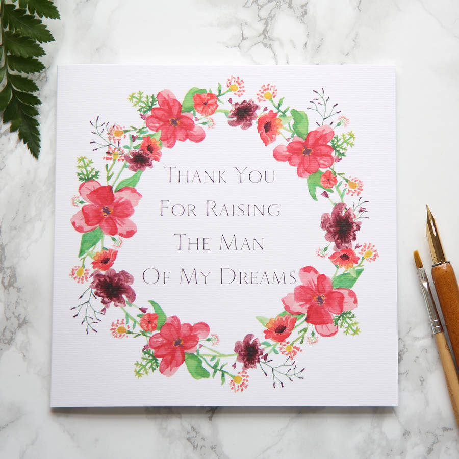 Thank You For Raising The Man Of My Dreams Card By Shoshy Cadoodle