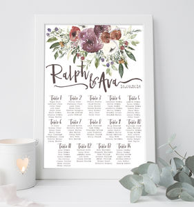 Watercolour Floral Wedding Table Plan - table plans
