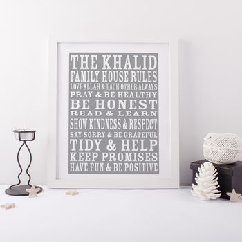 Personalised House Rules Print