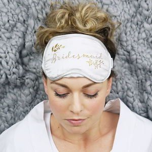 Personalised Botanical Bridesmaid Silk Eye Mask - bedroom
